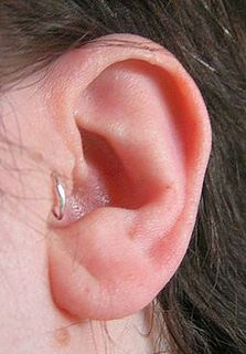 Tragus piercing cosmetic perforation of part of the ear