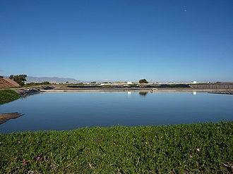 Waste stabilization pond - Waste stabilization pond at Grand Agadir, Morocco (Station M'zar)