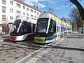 Tram 520 and tram 517 at Angerja Stop Kopli Tallinn 7 May 2018.jpg