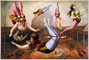 Circus - Trapeze artists, in lithograph by Calvert Litho. Co., 1890