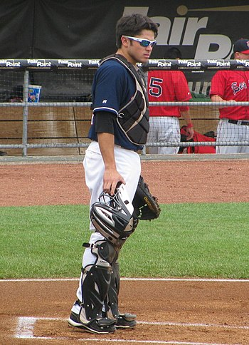 English: New Hampshire Fisher Cats catcher, Tr...