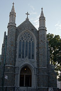 Trinity Lutheran Church. Center, close, tall shot, nice details of the building are shown..JPG