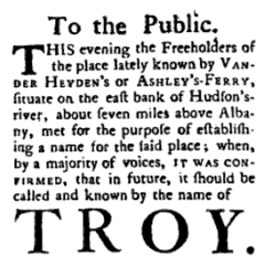History of Troy, New York - Troy got its current name in 1789