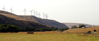 Tucannon River - Wind turbines on Hopkins Ridge above the Tucannon River Valley