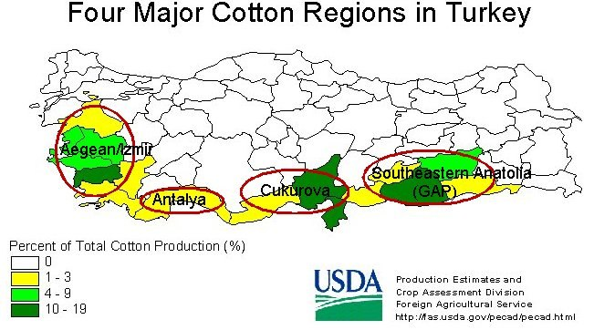 Turkey cotton regions