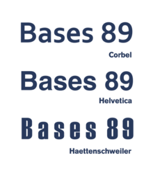 Images of the typefaces Corbel, Helvetica and Haettenschweiler.