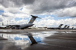 US Air Force C-17 Globemaster III aircraft assigned to the 437th Airlift Wing sit on the flight line at Joint Base Charleston during 2013. 2013.