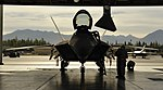 U.S. Airmen assigned to the 90th Fighter Squadron perform maintenance on an F-22 Raptor aircraft during exercise Polar Force 13-5 at Joint Base Elmendorf-Richardson, Alaska, July 23, 2013 130723-F-WV722-064.jpg