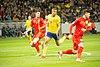 UEFA EURO qualifiers Sweden vs Romania 20190323 Robin Quaison Cristian Sapunaru and Tudor Baluta.jpg