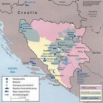 Operation Grapple (Yugoslavia) - UNPROFOR deployments in October 1995.