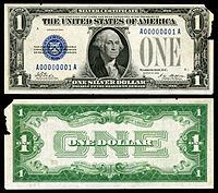 $1 Silver Certificate, Series 1928, Fr.1600, depicting George Washington