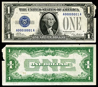 Silver certificate (United States) - Image: US $1 SC 1928 Fr.1600