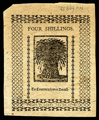 Counterfeit United States currency - Counterfeit warning printed on the reverse of a 4shilling Colonial currency in 1776 from Delaware Colony