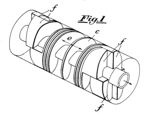 Swing-piston engine - Figure 1 of US Patent 2301667 showing a shaft, helical pistons and cams of Otto Lutz's engine