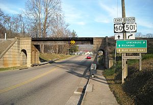 U.S. Route 60 in Virginia - US 60 east at the jct with US 501 in Buena Vista, Virginia