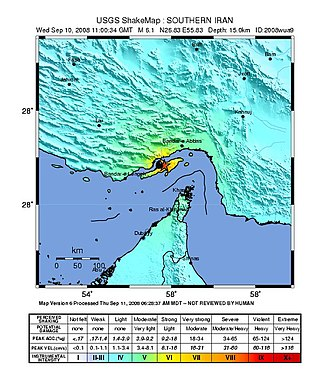 2008 Qeshm earthquake - USGS ShakeMap for the event