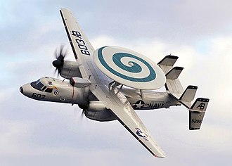 Northrop Grumman E-2 Hawkeye - An E-2C Hawkeye from VAW-123 squadron performs a fly-by over USS Enterprise