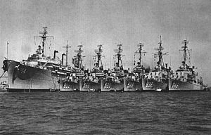 USS Dixie (AD-14) with destroyers at San Diego 1960.jpg