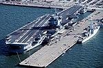 USS Enterprise (CVN-65) and HMCS Terra Nova (DDE 259) at Norfolk 1995.JPEG