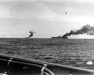 Masafumi Arima - Image: USS Franklin (CV 13) and USS Belleau Wood (CVL 24) afire 1944