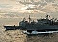 USS Princeton receives supplies from USNS Rainier. (8181938073).jpg