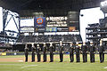US Navy 050405-N-6477M-293 Sailors assigned to various commands throughout the Northwest Region are honored at the Boeing Salute to Armed Forces Night at SAFCO Field, Seattle Wash.jpg