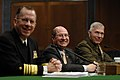 US Navy 070329-N-3642E-419 Secretary of the Navy (SECNAV), the Honorable Dr. Donald C. Winter, Chief of Naval Operations (CNO) Adm. Mike Mullen and Commandant of the Marine Corps Gen. James T. Conway appear before the Senate Ar.jpg