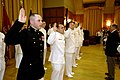 US Navy 070427-N-3642E-009 2nd Lt. Mike White, recites the oath of office from Secretary of the Navy (SECNAV), the Honorable Dr. Donald C. Winter during a commissioning ceremony.jpg