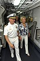 US Navy 080704-N-8943B-017 Cmdr. Edwin Kaiser, commanding officer of the guided-missile frigate USS Simpson (FFG 56) gives U.S. Ambassador to the Eastern Caribbean Mary Ourisman, a tour.jpg