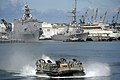 US Navy 080709-N-8135W-071 A landing craft air cushion delivers equipment to the amphibious assault ship USS Bonhomme Richard (LHD 6).jpg