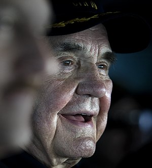 Dick Enberg - Image: US Navy 101212 N 2055M 059 Legendary sports broadcaster Dick Enberg observes flight operations aboard USS Carl Vinson (CVN 70) (cropped)