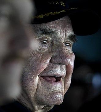 Dick Enberg - Legendary sports broadcaster Dick Enberg observes flight operations aboard USS Carl Vinson (CVN 70)