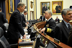 Randy Forbes - Rep. Forbes speaks with Chief of Naval Operations Adm. Gary Roughead before testifying in 2011