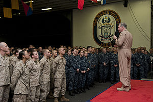 US Navy 120114-N-DX615-348 Vice Adm. Mark Fox, commander of U.S. Naval Forces Central Command, addresses Sailors and Marines aboard the amphibious.jpg