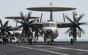 US Navy 120125-N-DR144-318 An aircraft assigned to Carrier Airborne Early Warning Squadron 125 taxis to launch on the first all-female-crewed comba.jpg