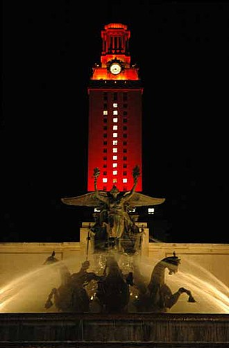 University of Texas at Austin - The Tower, completed in 1937, stands 307 ft (94 m) tall and dons different colors of lighting on special occasions.