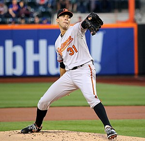 2015 Baltimore Orioles season - Ubaldo Jiménez pitching against the New York Mets.
