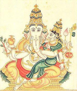 Uchchhishta Ganapati - Uchchhishta Ganapati, folio from the 19th-century Sritattvanidhi. A rare depiction of the deity with a clothed goddess.
