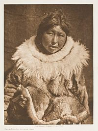 f0a25af2c A Hooper Bay woman with hoodless parka in 1928 photograph by Edward S  Curtis.