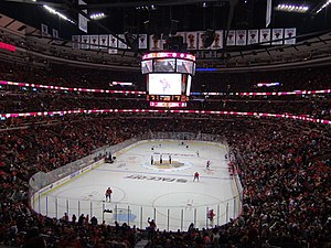 United Center - The United Center's configuration for Blackhawks hockey games.