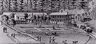 Upper Soda Springs - Engraving of the Upper Soda Springs Resort, circa 1875-1880