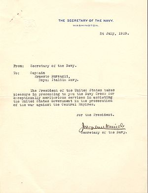 Josephus Daniels - Letter from Daniels confirming that the Navy Cross was conferred on Ernesto Burzagli in the name of the President of the United States in 1919. Captain Burzagli was an officer in the Royal Italian Navy.