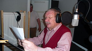 Wolfgang Völz - Völz working as a voice-actor in a studio in Berlin in 2010