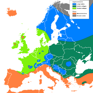 Vernacular architecture - Map of building materials used in European farmhouses: lodge cabins (blue), western and eastern cottages (light/dark green), mineral structures (orange) and nomadic zones (gray)
