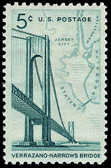 Verrazzano-Narrows Bridge commemorative stamp, first sold on November 21, 1964, in conjunction with the bridge's opening