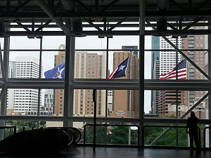 George R. Brown Convention Center - A view of downtown Houston from inside the George R. Brown Convention Center