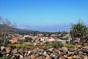 Tzintzuntzan, Michoacán - View of the modern town from the archeological site