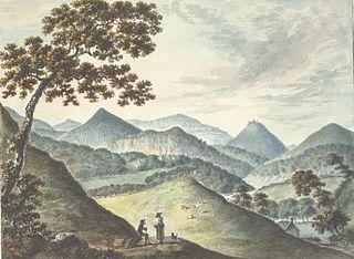 View of Llandysilio & Castell Dinas Brân