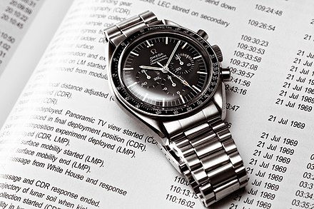 The Omega Speedmaster worn on the moon during the Apollo missions. In terms of value, Switzerland is responsible for half of the world production of watches. Vintage Omega Speedmaster 145.012-67.jpg