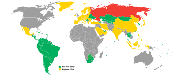 Visa policy of Russia - Wikipedia on map of middle east russia, map of north korea and russia, map of sweden and russia, map of ussr and russia, map of north america and russia, map of europe and russia, map of european countries and russia, map of egypt and russia, map of russia 2015, map of the usa and russia, map of georgia and russia, map asia and russia, map of great britain and russia, map of vietnam and russia, map of macedonia and russia, map of armenia and russia, map of china and russia, map of serbia and russia, map of ships in syria, political map of russia,